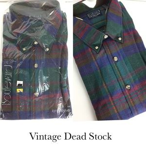 Vintage men's western plaid flannel long sleeve
